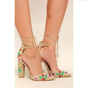 Cassia Nude Embroidered Lace-Up Heels